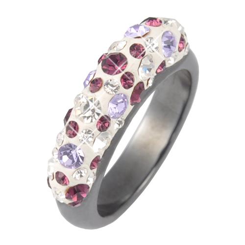 Prsten s krystaly Swarovski Hematit Violet Secret Slim
