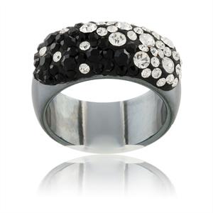 Prsten s krystaly Swarovski Hematit Black White Large