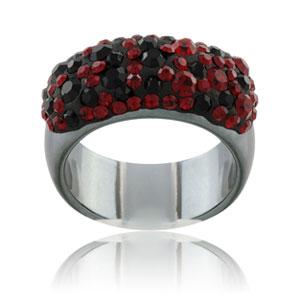 Prsten s krystaly Swarovski Hematit Vulcano Large