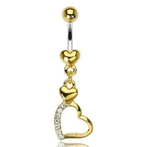 Pozlacený piercing do pupíku WP01106