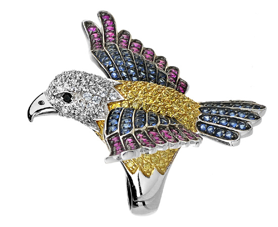 prsten ptáček Swarovski