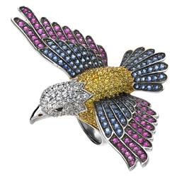 prsten pták Swarovski